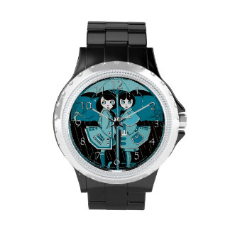 Día lluvioso en azul reloj de mano