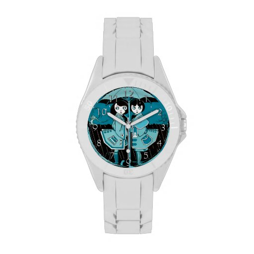 Día lluvioso en azul relojes de pulsera