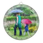 Día lluvioso en el jardín tablero dardos