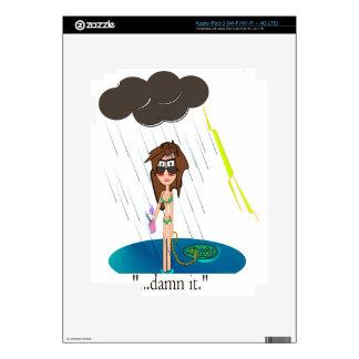 Día lluvioso en la playa iPad 3 pegatinas skins