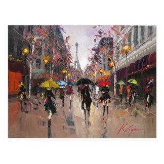 Día lluvioso en París Postal