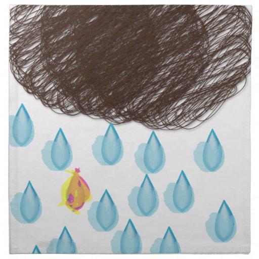 Día lluvioso Furball Servilletas Imprimidas