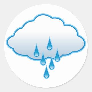 Día lluvioso pegatina redonda