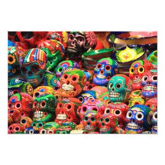 Día mexicano colorido de los cráneos ceranic fotografías