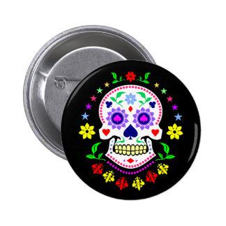 Día mexicano colorido del cráneo muerto del azúcar pin redondo 5 cm