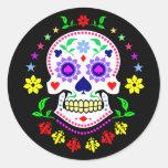 Día mexicano de los pegatinas muertos del cráneo pegatinas redondas