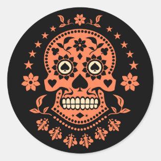 Día mexicano del cráneo muerto del azúcar pegatina redonda