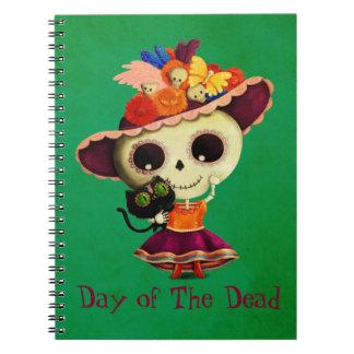 Día mexicano lindo del chica muerto libretas