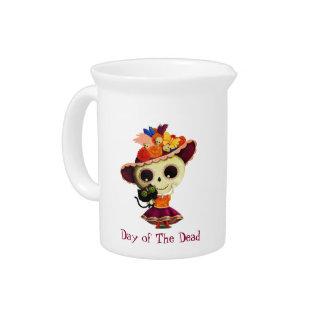 Día mexicano lindo del chica muerto jarrones