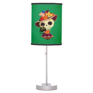 Día mexicano lindo del chica muerto lámpara de mesa