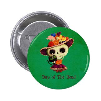 Día mexicano lindo del chica muerto pin redondo de 2 pulgadas