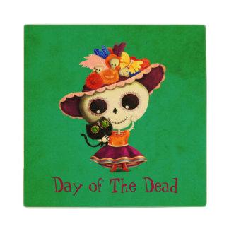 Día mexicano lindo del chica muerto posavasos de arce