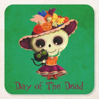 Día mexicano lindo del chica muerto posavasos de cartón cuadrado