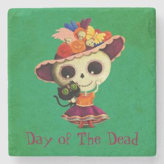 Día mexicano lindo del chica muerto posavasos de piedra