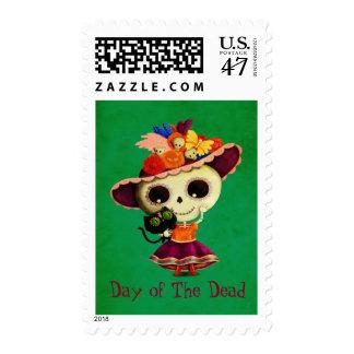 Día mexicano lindo del chica muerto sellos postales