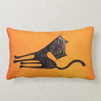 Día mexicano negro del gato muerto cojín lumbar