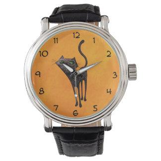 Día mexicano negro del gato muerto relojes de mano