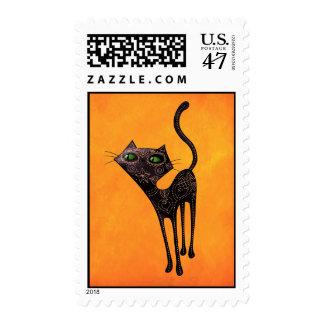 Día mexicano negro del gato muerto sello