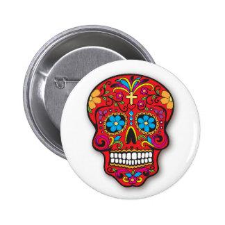 Día mexicano rojo del cráneo del azúcar de los pin redondo 5 cm