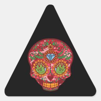 Día mexicano rosado de Camo del cráneo muerto del Pegatina Triangular
