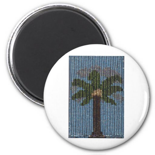 Día moldeado de la palma imán redondo 5 cm