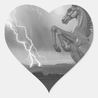 DIA Mustang Bronco Lightning Storm BW Heart Sticker