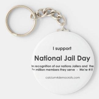Día nacional de la cárcel llavero redondo tipo pin