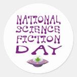 Día nacional de la ciencia ficción etiqueta redonda