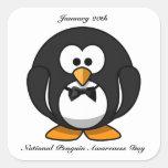 Día nacional de la conciencia del pingüino pegatinas cuadradases personalizadas