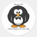 Día nacional de la conciencia del pingüino etiquetas redondas