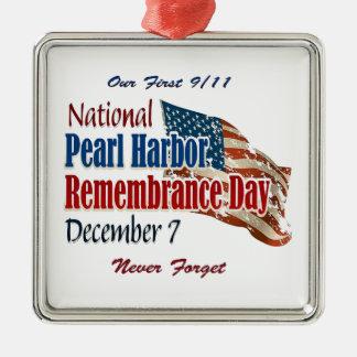 Día nacional del Pearl Harbor Adorno Navideño Cuadrado De Metal