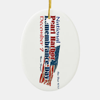 Día nacional del Pearl Harbor Adorno Navideño Ovalado De Cerámica