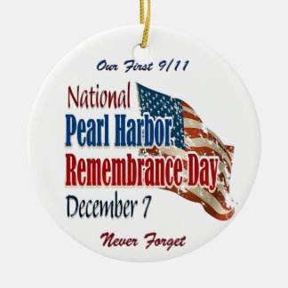 Día nacional del Pearl Harbor Adorno Navideño Redondo De Cerámica
