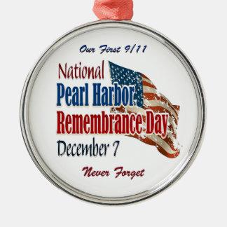 Día nacional del Pearl Harbor Adorno Navideño Redondo De Metal