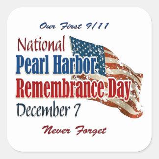 Día nacional del Pearl Harbor Pegatina Cuadrada