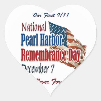 Día nacional del Pearl Harbor Pegatina En Forma De Corazón