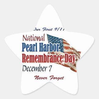Día nacional del Pearl Harbor Pegatina En Forma De Estrella