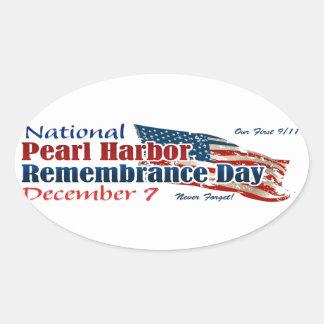 Día nacional del Pearl Harbor Pegatina Ovalada