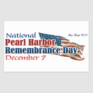 Día nacional del Pearl Harbor Pegatina Rectangular