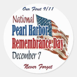 Día nacional del Pearl Harbor Pegatina Redonda