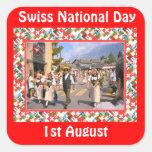 Día nacional suizo, el 1 de agosto pegatinas cuadradas