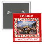 Día nacional suizo, el 1 de agosto, pins