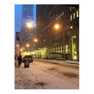 Día Nevado en la postal de New York City