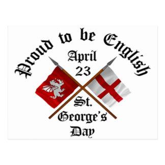 Día Orgulloso-A-Ser-Inglés de Jorte del santo Tarjeta Postal