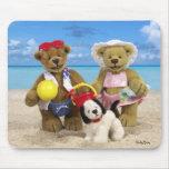 Día pequeño de los osos en la playa tapete de ratón