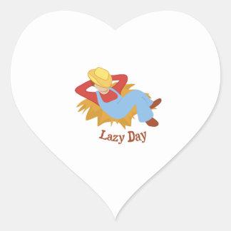 Día perezoso calcomanía corazón personalizadas