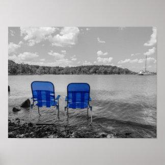 Día perfecto en el Grayscale del lago Póster