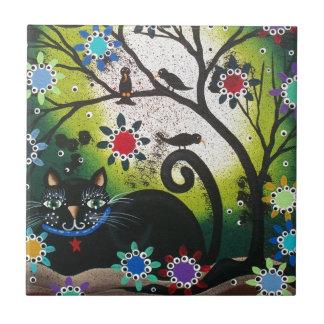 Día popular de Art_By Everett_ del CAT muerto, Azulejo Cuadrado Pequeño