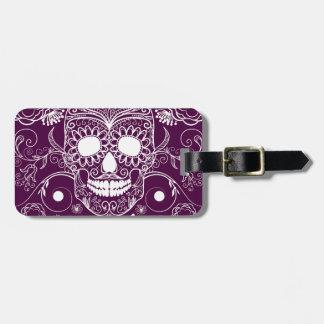 Día púrpura de los muertos etiqueta para maleta
