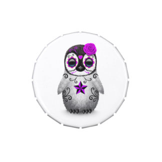 Día púrpura del blanco muerto del pingüino del frascos de dulces